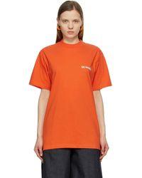 Sunnei Orange And Green Mini Logo T-shirt