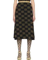 Gucci - ブラック And ゴールド ウール GG スカート - Lyst