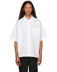 Marni ホワイト ロゴ ショート スリーブ ボウリング シャツ