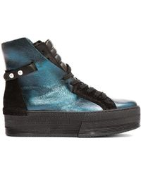 CA by Cinzia Araia - Teal Leather High-rise Platform Sneakers - Lyst