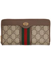 Gucci Beige GG Ophidia Zip Around Wallet - Natural