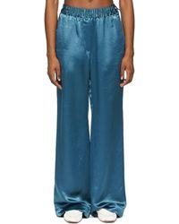 Acne Studios Blue Satin Fluid Pants
