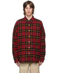 MASTERMIND WORLD レッド フランネル オーバーサイズ シャツ