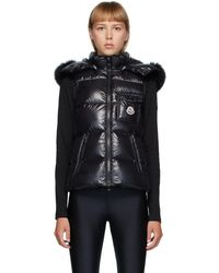Moncler Black Down And Fur Balabio Vest