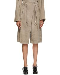 Lemaire Beige Suede Shorts - Natural