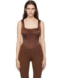 Miaou Débardeur corset Campbell brun - Marron