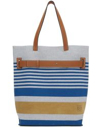 Loewe - Blue And White Striped Tote - Lyst