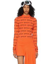 Hood By Air Orange All Over Print Crop Long Sleeve T-shirt