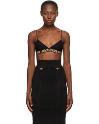 Versace Jeans Couture - ブラック レース トライアングル ブラ - Lyst