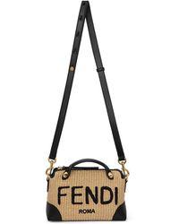 Fendi Beige & Black Mini 'by The Way' Straw Bag - Multicolor
