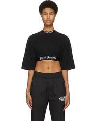 Palm Angels ブラック クロップド ロゴ T シャツ