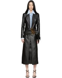 Materiel Tbilisi Manteau en cuir synthetique a ceinture noir