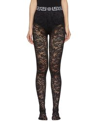 Versace Black Lace Empire Band Tights
