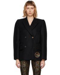 Versace ブラック O-ring ダブルブレスト コート