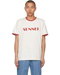 Sunnei - ホワイト & レッド ロゴ T シャツ - Lyst