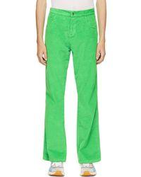 ERL Pantalon vert en velours côtelé et gaufré