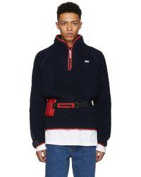 Martine Rose - Navy Fleece Track Sweater - Lyst
