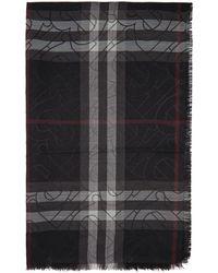 Burberry - ブラック チェック Metallic モノグラム スカーフ - Lyst