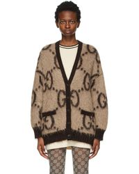 Gucci Reversible Beige And Brown Mohair Oversized GG Cardigan - Natural