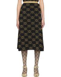 Gucci ブラック And ゴールド ウール GG スカート