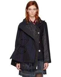 Sacai - Navy Melton Hooded Jacket - Lyst