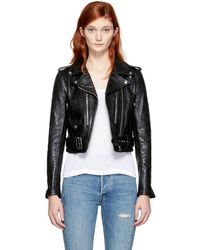 RE/DONE - Black Leather Motorcycle Jacket - Lyst