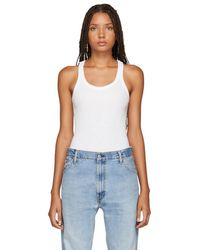 RE/DONE - White Ribbed Tank Bodysuit - Lyst