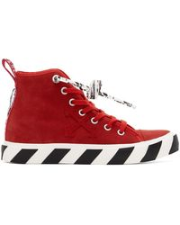 Off-White c/o Virgil Abloh Suede Vulcanized Mid Top Sneakers - Red