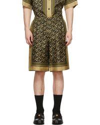 Versace カーキ シルク モノグラム ショーツ - マルチカラー