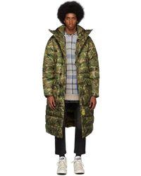 R13 Khaki Brumal Edition Camo Down Long Anorak Puffer Coat - Green