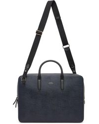 Smythson Navy Panama Slim Lightweight Briefcase - Blue
