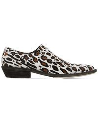 Haider Ackermann White And Brown Leopard Slip-on Derby Loafers