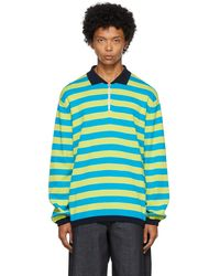 Sunnei Green & Blue Knit Colorblocked Polo