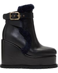 Sacai - Black Shearling Wedge Boots - Lyst