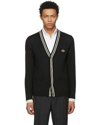 Gucci | Black Embroidered Bee Patch Cardigan | Lyst