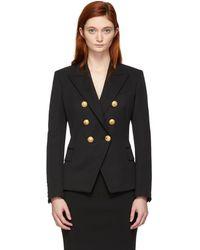Balmain - Black Double-breasted Virgin Wool Blazer - Lyst