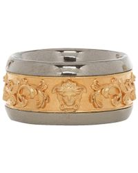 Versace - Gold And Silver Brocade Ring - Lyst
