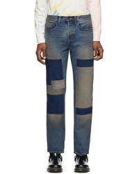 Reese Cooper Indigo Patchwork Jeans - Blue