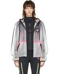Versace トランスペアレント ロゴ パッチ ジャケット - ホワイト