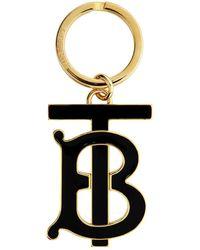 Burberry - ゴールド And ブラック モノグラム モチーフ キーリング - Lyst