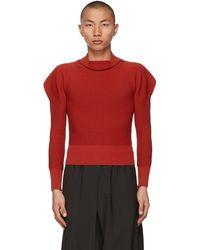 132 5. Issey Miyake Red Flat Rib Knit Sweater