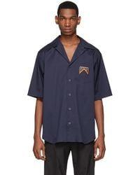 Prada ネイビー ボウリング シャツ - ブルー