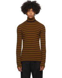 Dries Van Noten ブラウン & ネイビー ストライプ セーター