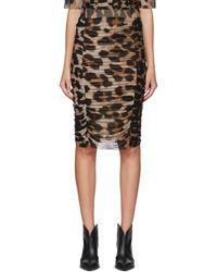 Ganni Brown And Beige Leopard Skirt - Multicolor