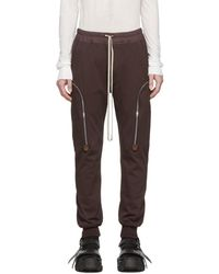 Rick Owens Burgundy Jog Cargo Trousers - Brown