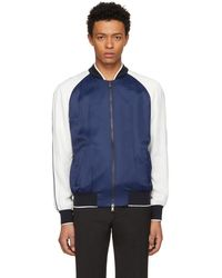 Versace - Blue And White Embroidered Varsity Jacket - Lyst