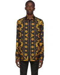 Versace Chemise western en soie noire et doree Barocco