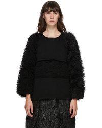 Comme des Garçons ブラック ウール マルチマテリアル セーター