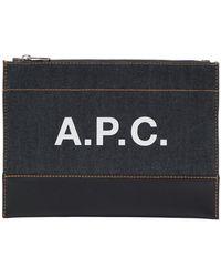 A.P.C. - ブルー デニム Axel ポーチ - Lyst