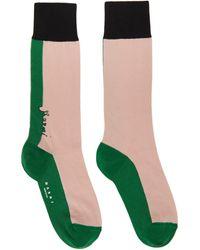Marni Pink And Green Jersey Socks